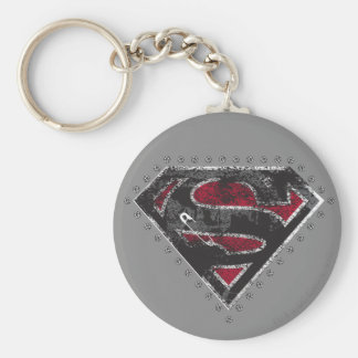 Supergirl Distressed Logo Black and Red Key Ring