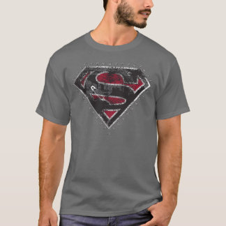 Supergirl Distressed Logo Black and Red T-Shirt