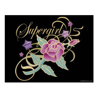 Supergirl Fancy Roses Postcard