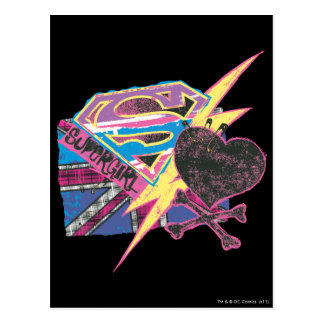 Supergirl Flag and Crossbones Postcard
