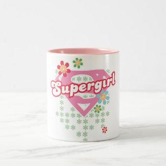 Supergirl Flower Madness Two-Tone Coffee Mug