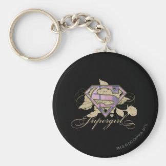 Supergirl Flowers Basic Round Button Key Ring