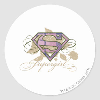 Supergirl Flowers Classic Round Sticker