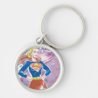 Supergirl Galaxy Silver-Colored Round Key Ring