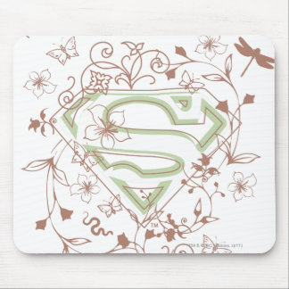 Supergirl Green Floral Logo Mouse Mat