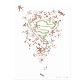 Supergirl Green Floral Logo Postcard