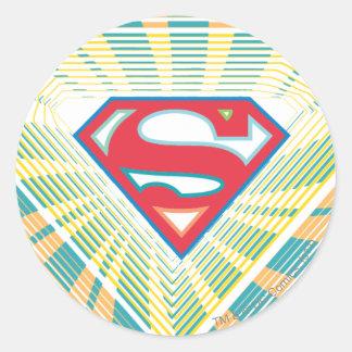 Supergirl Groovy Logo Classic Round Sticker