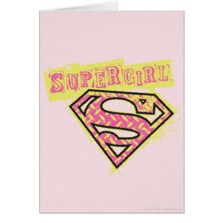 Supergirl Grunge Logo Pink Card
