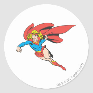 Supergirl Leaps and Punches Classic Round Sticker