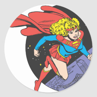 Supergirl Leaps in Space Classic Round Sticker
