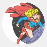 Supergirl Leaps in Space Round Sticker