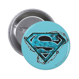 Supergirl Logo Barbed Wire and Flowers 6 Cm Round Badge