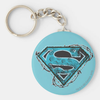 Supergirl Logo Barbed Wire and Flowers Key Ring
