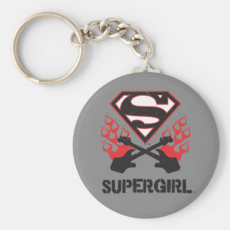 Supergirl Logo Black Flaming Guitars Basic Round Button Key Ring