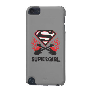 Supergirl Logo Black Flaming Guitars iPod Touch 5G Cases