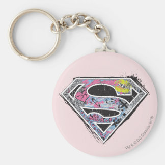 Supergirl Logo Collage Basic Round Button Key Ring