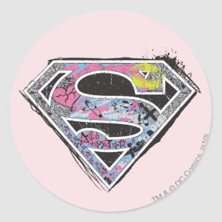 Supergirl Logo Collage Classic Round Sticker