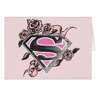 Supergirl Logo with Roses Card