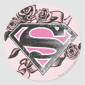 Supergirl Logo with Roses Round Stickers
