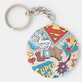 Supergirl Love Basic Round Button Key Ring