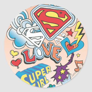 Supergirl Love Classic Round Sticker