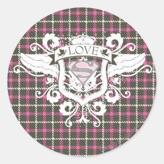 Supergirl Love Crest Classic Round Sticker