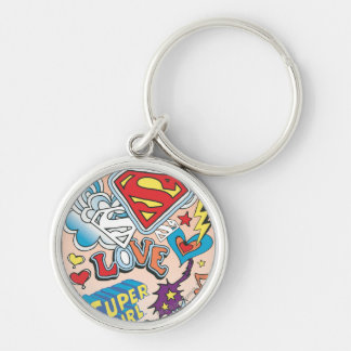 Supergirl Love Silver-Colored Round Key Ring