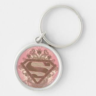 Supergirl Metropolis Ballet Pink Silver-Colored Round Key Ring