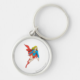 Supergirl on the Move Silver-Colored Round Key Ring
