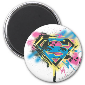 Supergirl Paint and Spills 6 Cm Round Magnet
