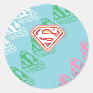 Supergirl Pastel  Repeat Pattern Classic Round Sticker