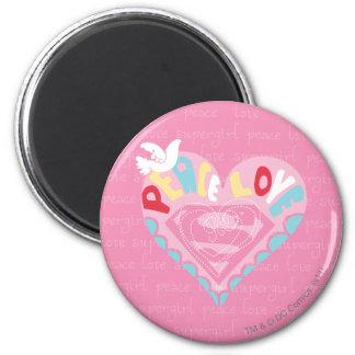 Supergirl Peace and Love Pink Magnet