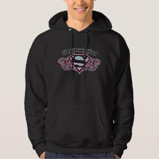 Supergirl Pin Strips Black and Pink Hoodie