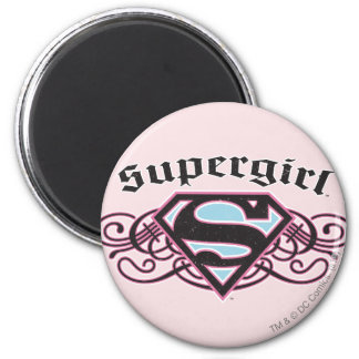 Supergirl Pin Strips Black and Pink Magnet