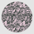 Supergirl Pink and Black Scribbles Classic Round Sticker