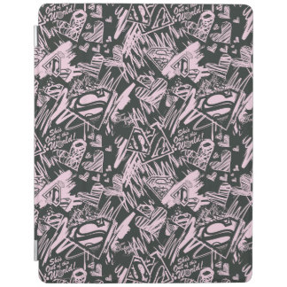 Supergirl Pink and Black Scribbles iPad Cover