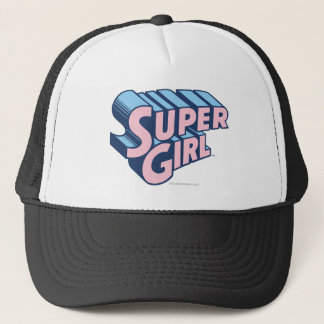 Supergirl Pink and Blue Logo Trucker Hat