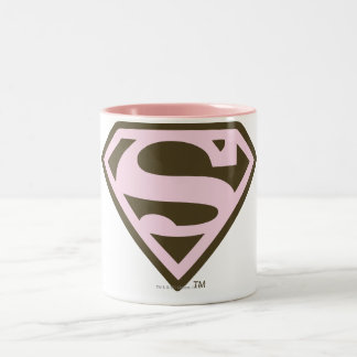 Supergirl Pink and Brown Logo Two-Tone Coffee Mug