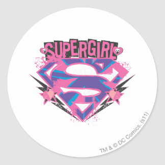 Supergirl Pink and Purple Grunge Logo Classic Round Sticker
