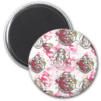 Supergirl Pink Ink Pattern Magnet