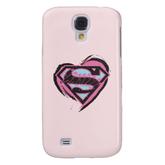 Supergirl Pink Logo in Heart Galaxy S4 Case
