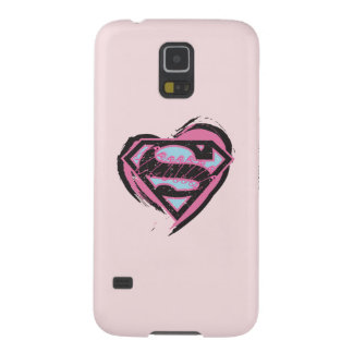 Supergirl Pink Logo in Heart Galaxy S5 Case