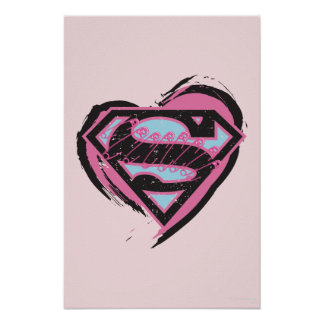 Supergirl Pink Logo in Heart Poster