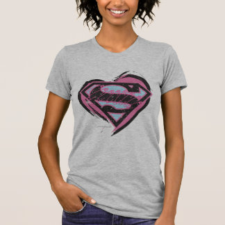 Supergirl Pink Logo in Heart T-Shirt