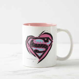 Supergirl Pink Logo in Heart Two-Tone Coffee Mug