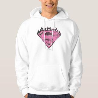 Supergirl Pink Logo with Flames Hoodie