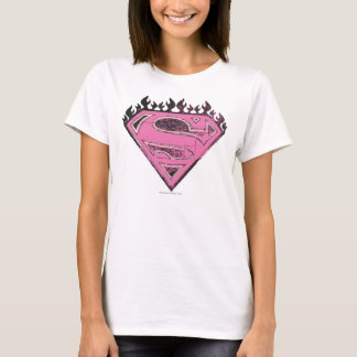 Supergirl Pink Logo with Flames T-Shirt