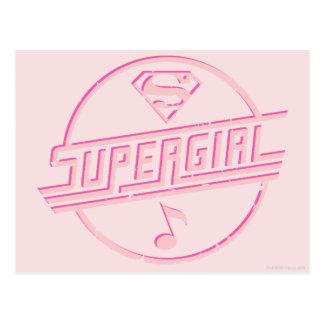 Supergirl Pink Music Note Postcard