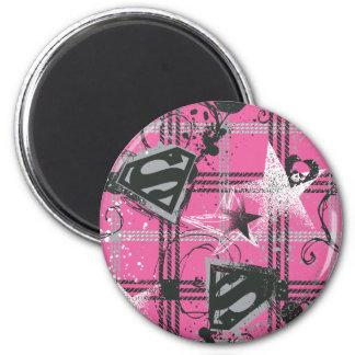 Supergirl Pink Splatter Square Magnet