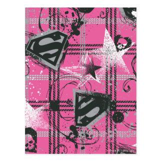 Supergirl Pink Splatter Square Postcard
